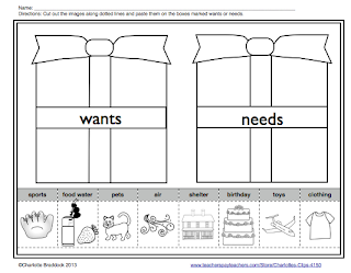 Worksheet Needs And Wants Worksheets charlottes clips and kindergarten kids wants needs lesson free printable for needs