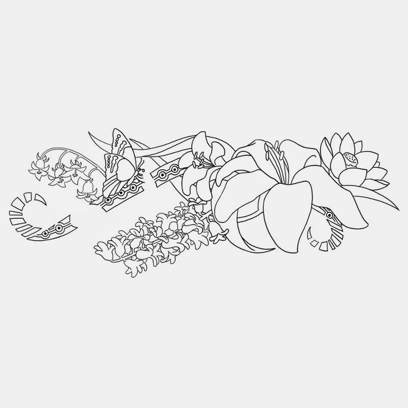 Lilies and butterfly tribal tattoo stencil