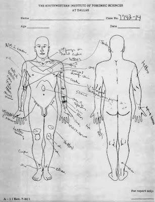 A diagram from an autopsy performed on Lockett. Pathologists found nothing to explain why the doctor and the paramedic had had so much trouble placing an IV. (Oklahoma Department of Public Safety / AP)