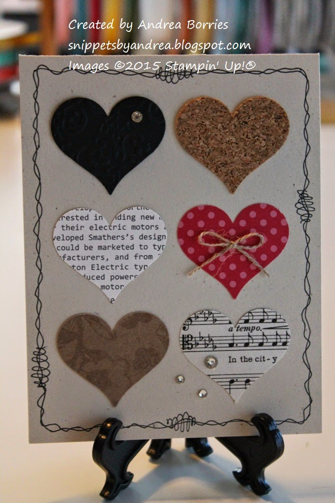 Naturals Ivory card base with a border doodled around the edges. Within the border are six hearts punched from paper with different patterns, colors and textures.