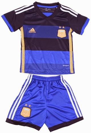 Baju Bola Piala Dunia Anak Terbaru 2014 - Jersey Grade Ori Argen Away 2014 Lionel Messi
