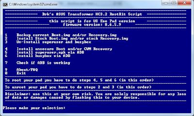 Imagen del script para rootear la Asus Transformer