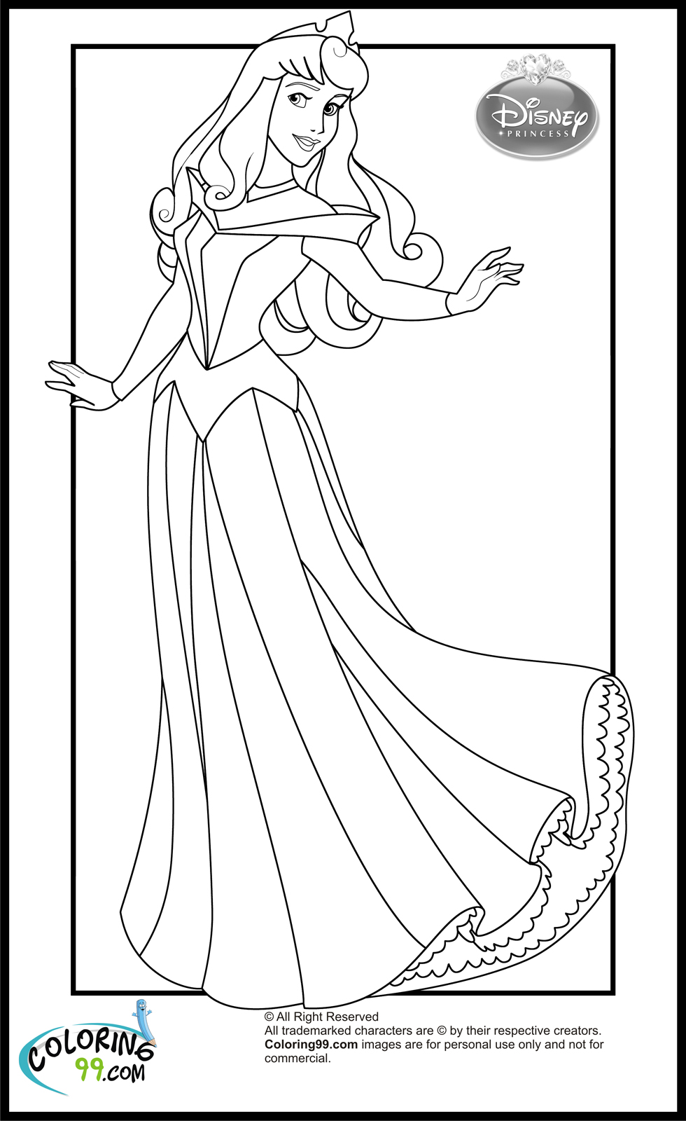 Princess Aurora - Free Colouring Pages