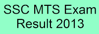 SSC MTS Exam result 2013