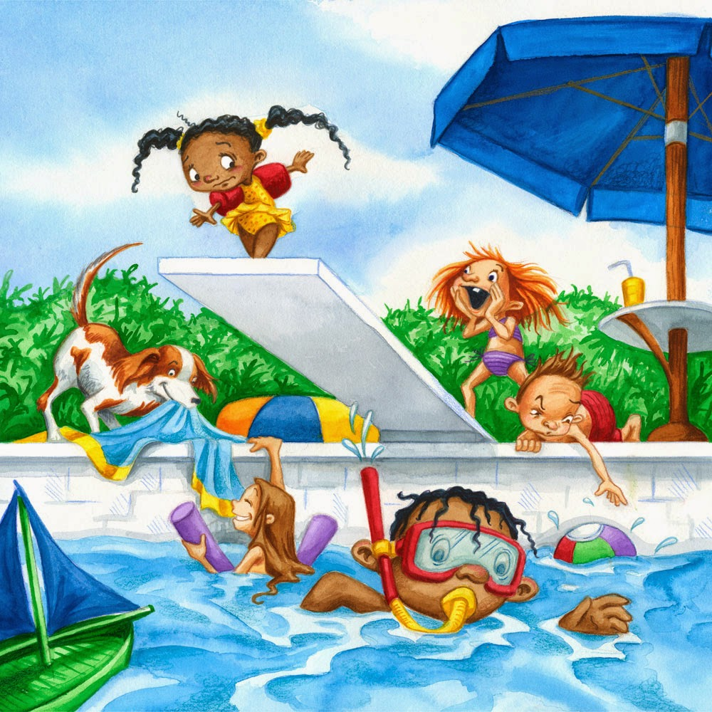 Gambar Berenang Kartun Lucu Kid Swimming Cartoon Wallpaper