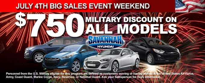 Savannah Hyundai, Military Discount on All Models!