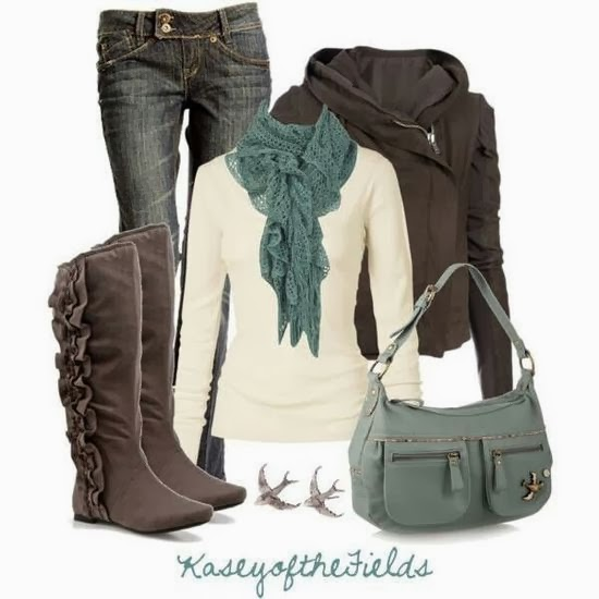 Nice scarf, white sweater, jacket, jeans and amazing long boots for fall