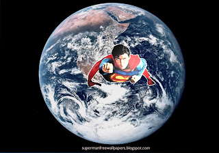 Wallpaper of Superman super sonic speed in Planet Earth from Space Desktop wallpaper