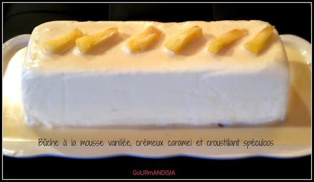 Image Bûche à la mousse vanillée, crémeux caramel et croustillant spéculoos