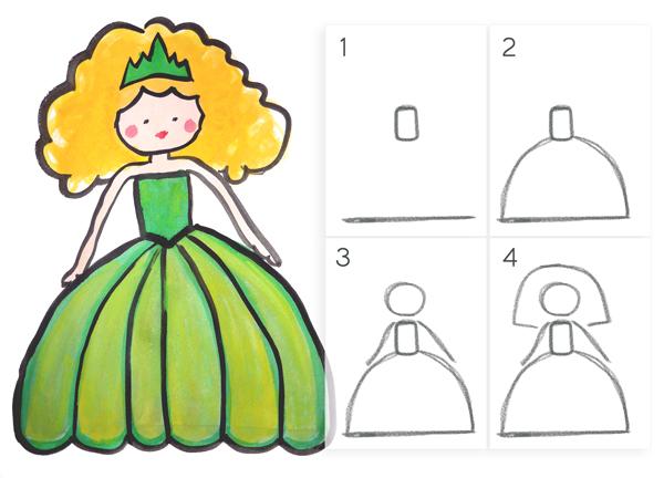 Apprendre dessiner une princesse en 4 tapes faciles maman bricolage - Apprendre a dessiner pour enfant ...