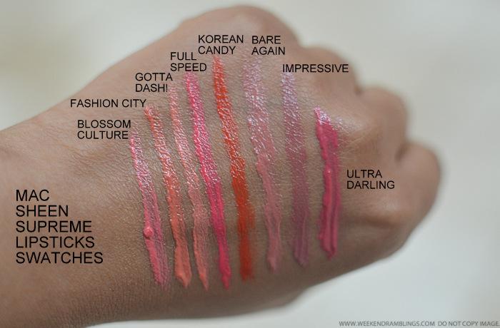 MAC Sheen Supreme Lipsticks - Swatches - Blossom Culture Fashion City Gotta Dash Full Speed Korean Candy Bare Again Impressive Ultra Darling