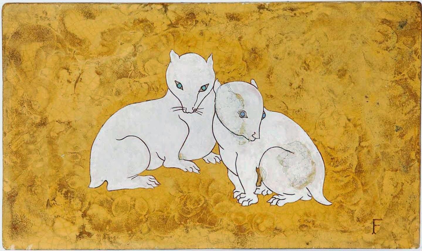 """Panneau en """"Lap"""" de Foujita : Deux chatons du désert"""