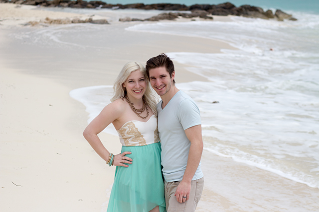 Jennifer Ashley & husband Stephane on the beach in Freeport.