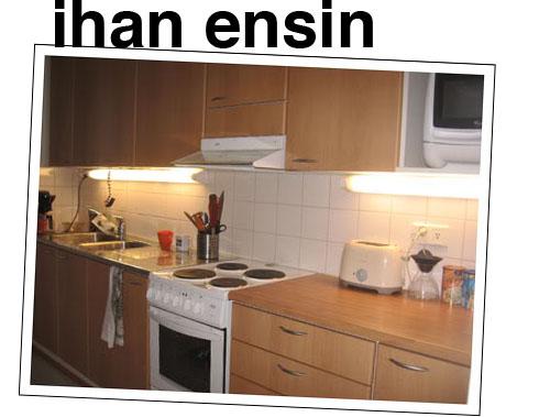 visuaalisesti vaativa köyhän miehen keittiöremontti