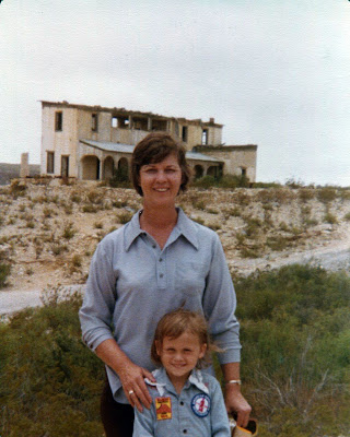 Carolyn Marie Marshall and Caroline Martin Marshall West Texas Ghost Town Jul 1977
