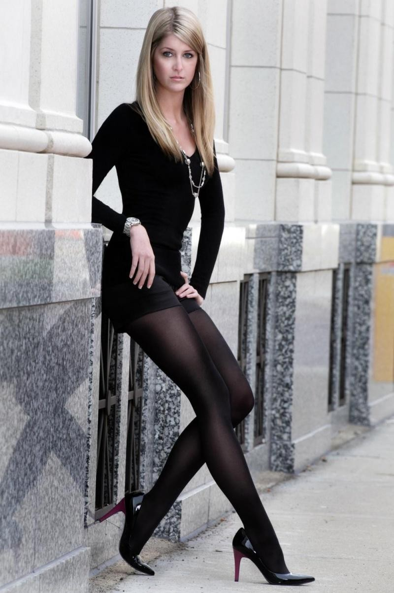 Black pantyhose high heels