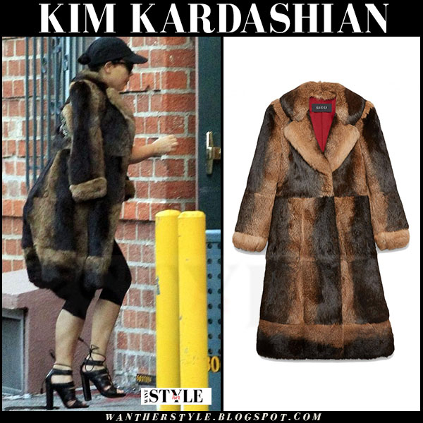 Kim Kardashian in brown rabbit fur coat gucci what she wore winter style