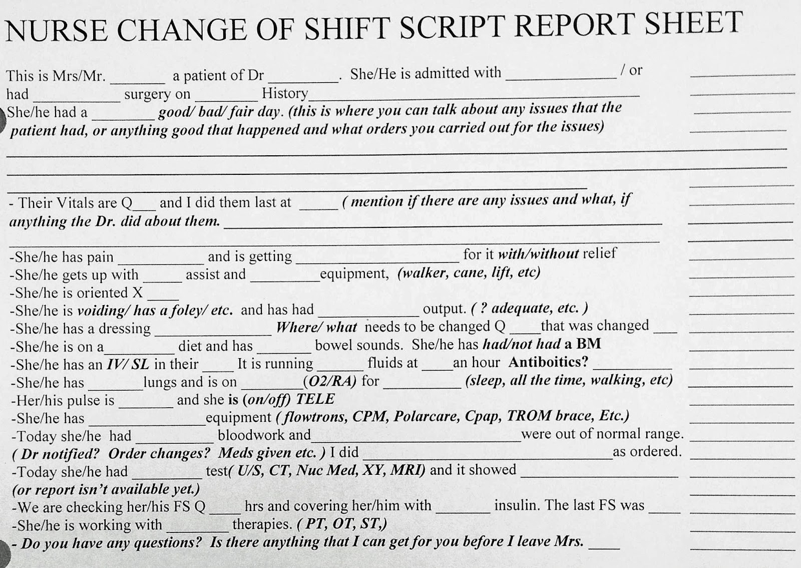 Charge Nurse Shift Report Sheet Pictures to Pin – Shift Report Template