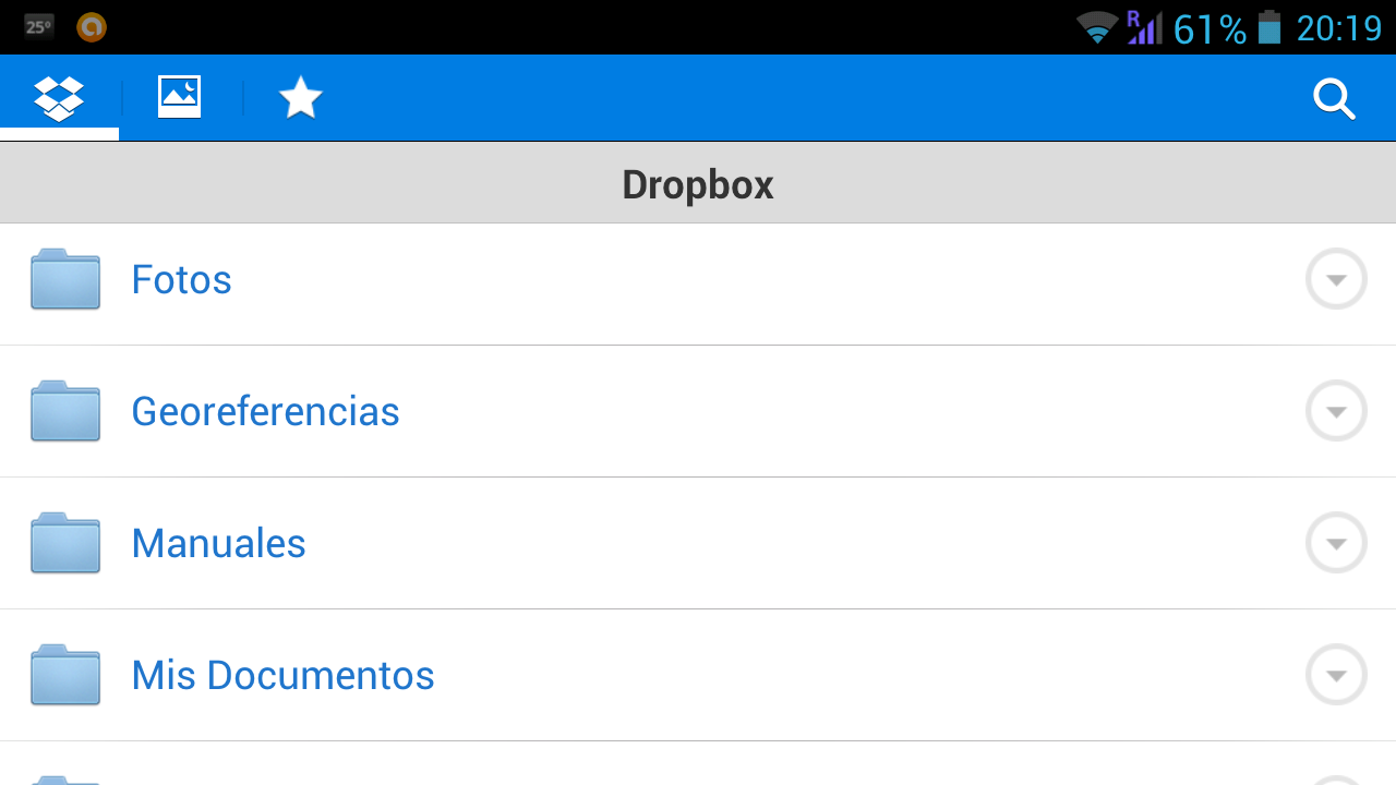 Captura dropbox android