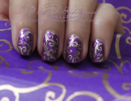 Polished Indulgence Nail Art Wednesday Gold Swirls On Purple