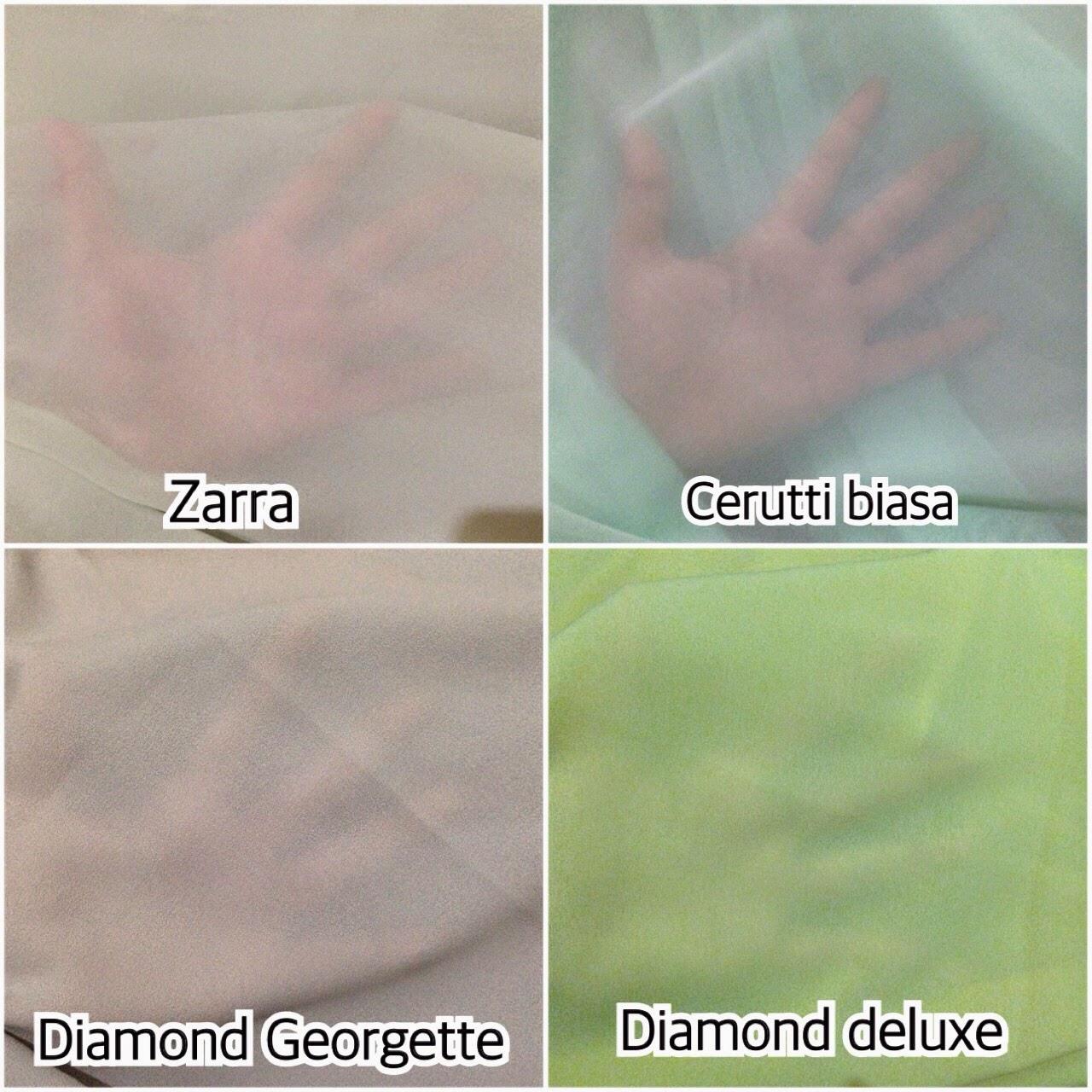 Chiffon Cerutti Biasa Vs Zarra Vs Diamond Georgette Vs Diamond