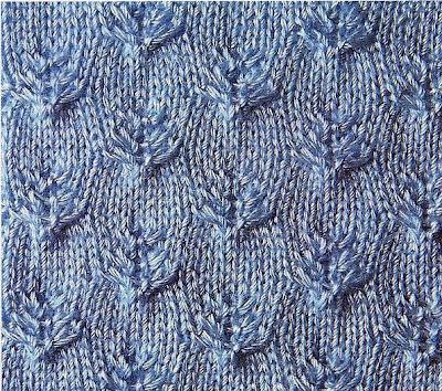 Фантазийный узор с листьями - вязание спицами.