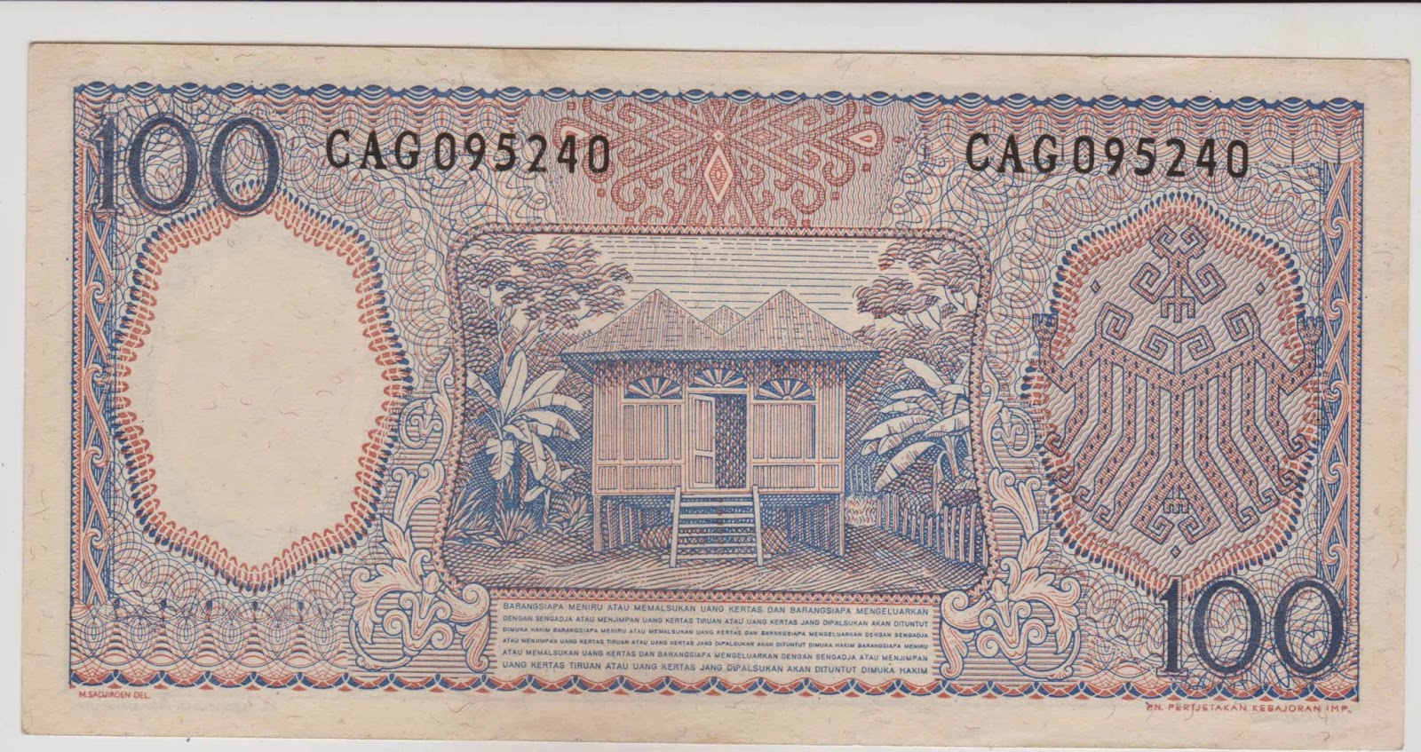 uang kuno Seri pekerja tangan tahun 1964 pecahan 100 rupiah ( Biru )