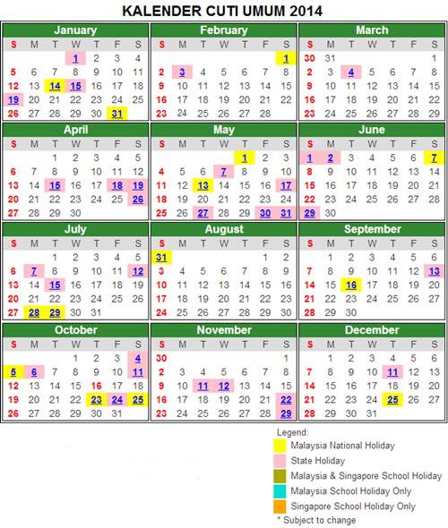 Kalendar Cuti Umum Malaysia 2014
