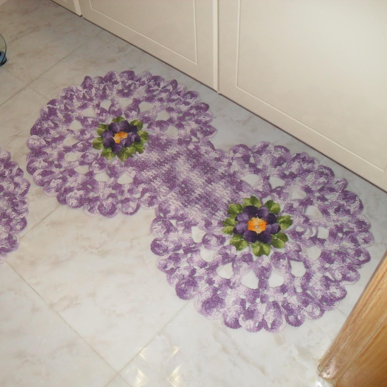 Jogo de tapetes de crochê em barbante barroco com flor