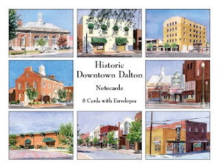 Watercolors of historic downtown Dalton buildings, notecards by George Davies