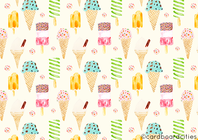 watercolour pattern by laura redburn with ice creams and ice lollies