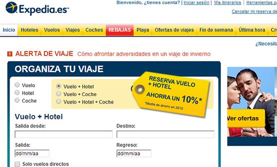 viajes y vuelos baratos con  Expedia.es