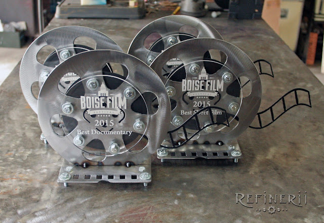 Custom film reel trophies made from steel