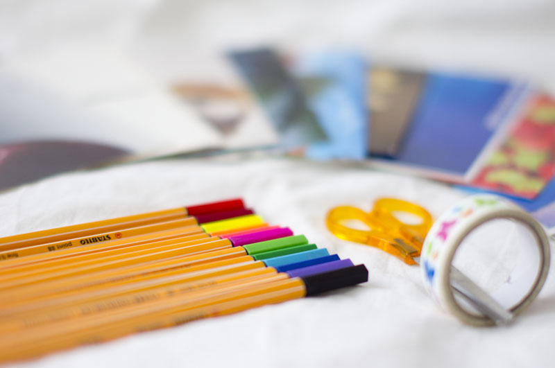 cienkopisy,,postcrossing, taśma washi, inspiracje, blog