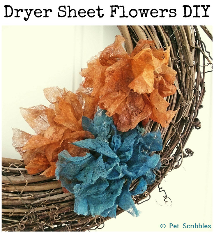 Dryer Sheet Flowers DIY: Make shabby-style flowers from used dryer sheets! A great excuse to do laundry!
