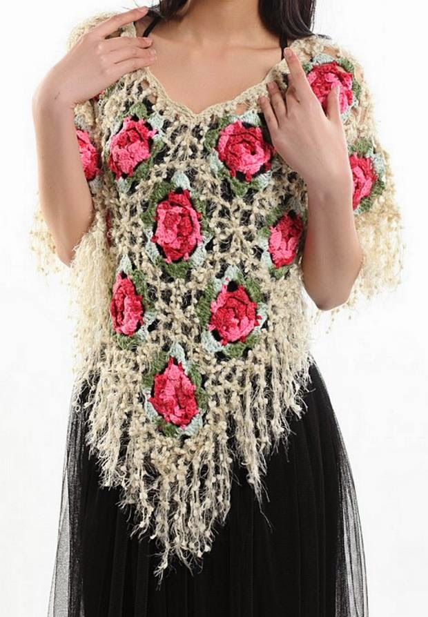 Crocheting Ponchos : Crochet Shawls: Crochet Poncho using Beautiful Yarn - Flower Square ...