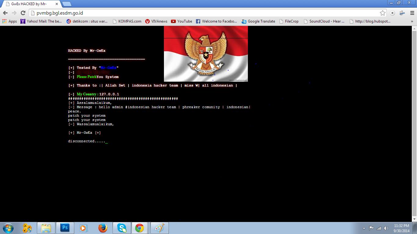 Website PVMBG di hack