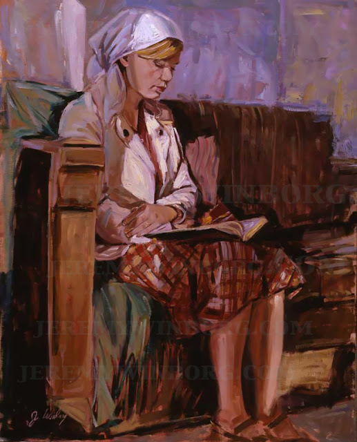 Albanian woman reads book of mormon libri i mormonit by jeremy winborg original oil painting