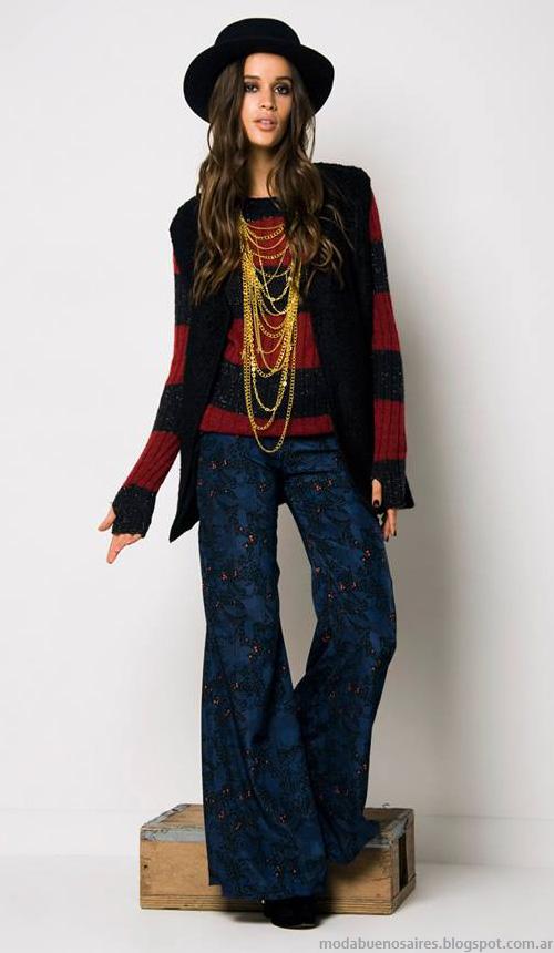 Chalecos, swaters tejidos a rayas, pantalones de invierno. Moda otoño invierno en Argentina Doll Store 2014.