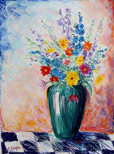 California Artwork Flowers In Green Vase On Checker Board Floral