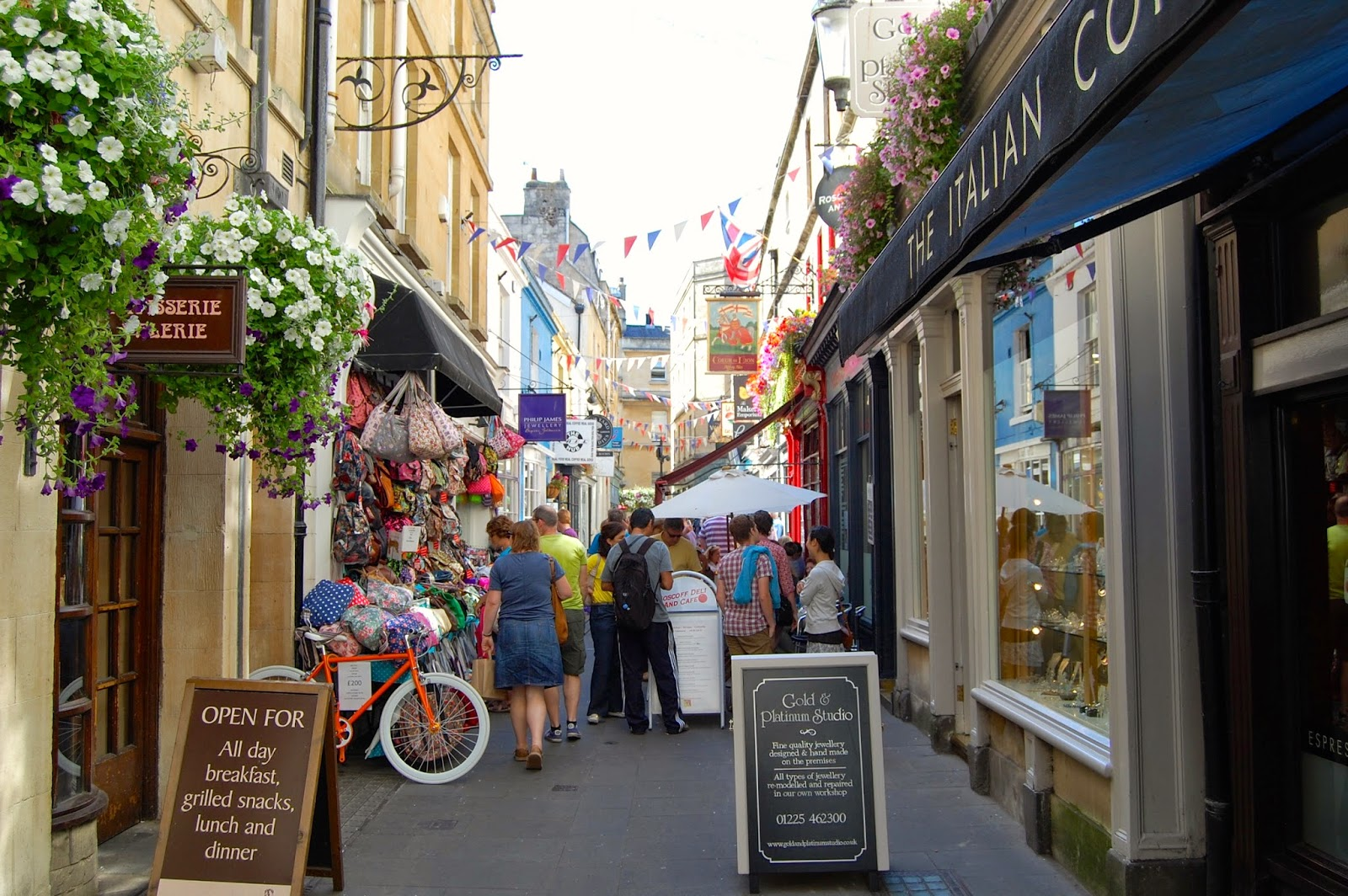 Shop-lined street in Bath