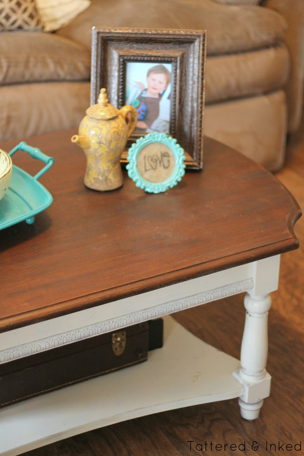 Tattered and inked summery living room makeover with Eclectic coffee table makeovers