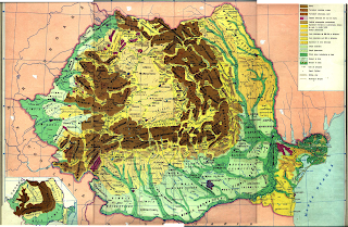 Harta unitatilor de relief, munti, dealuri, campii