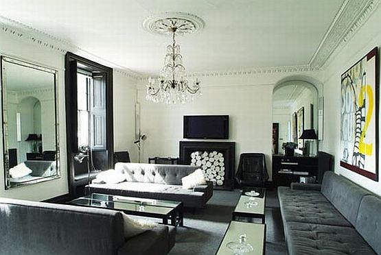 Black living room design with lighting decorating