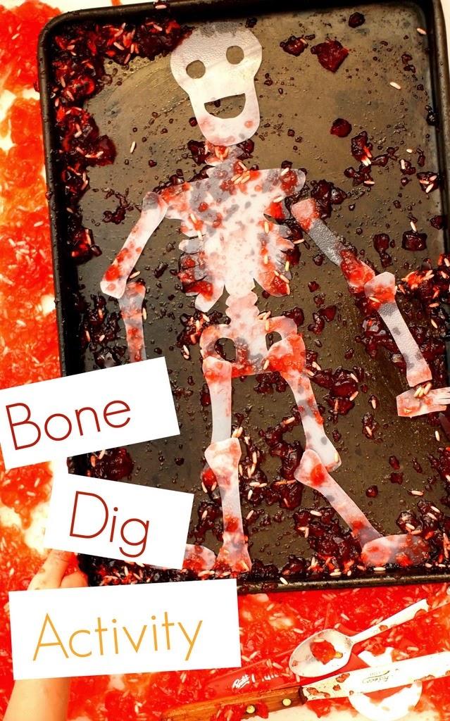 "Fun Halloween Sensory Activity- Dig out ""bones!"""