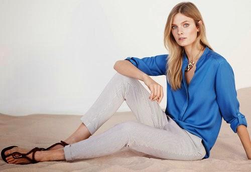 moda mujer Massimo Dutti primavera verano 2014 camisa azul pantalón rayas