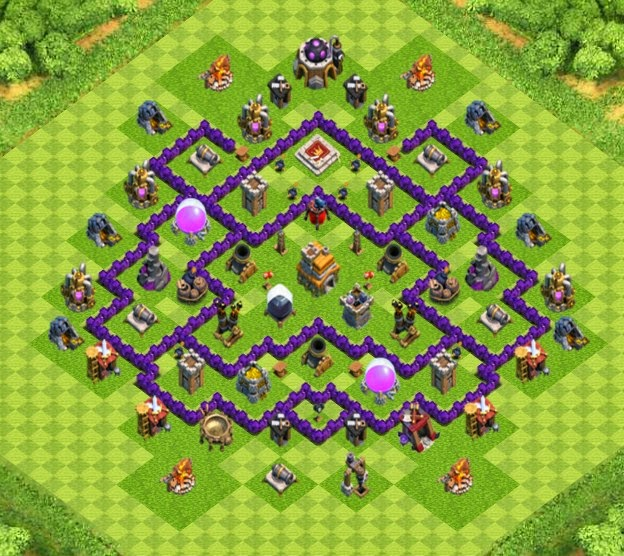 Town Hall 7 Home Base Design Part - 33: War/Trophy Base Town Hall 7 Designs With Air Sweeper - Clash Of Clans