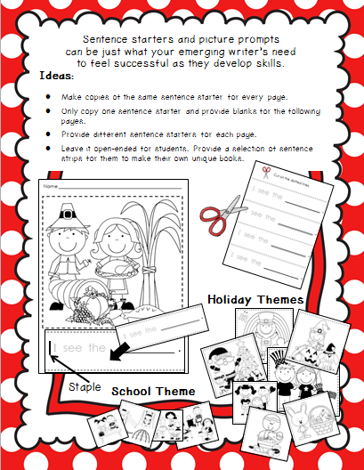 http://www.teacherspayteachers.com/Product/Sentence-Starters-and-Picture-Prompts-Holiday-School-Themes-965936
