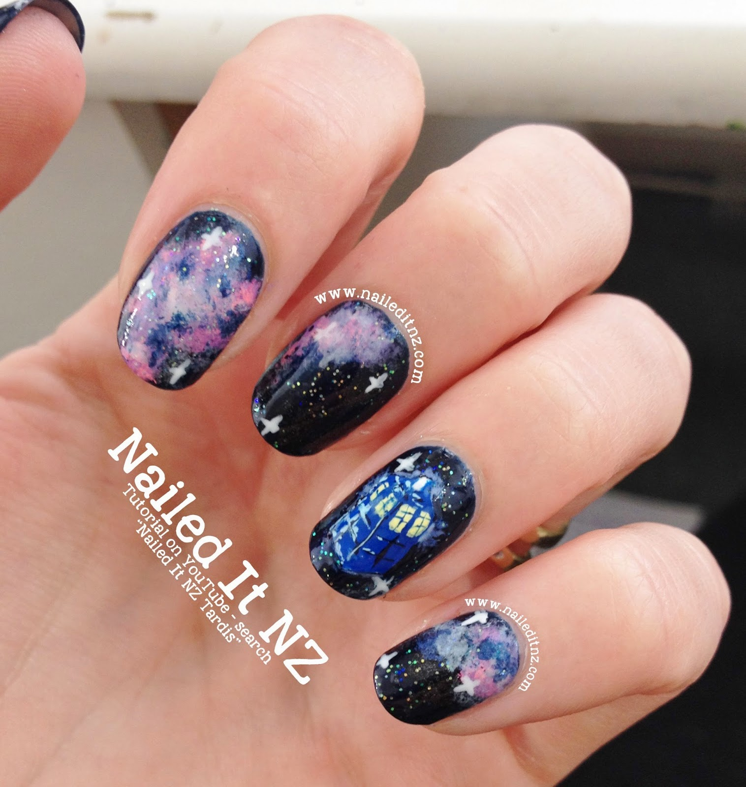 Doctor Who Nail Art Tardis In Space Tutorial