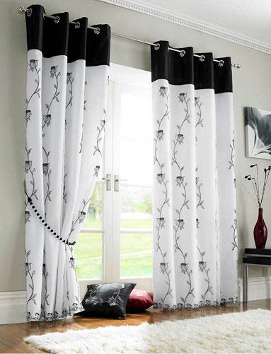 New home designs latest home curtain designs ideas for Black and white curtain designs
